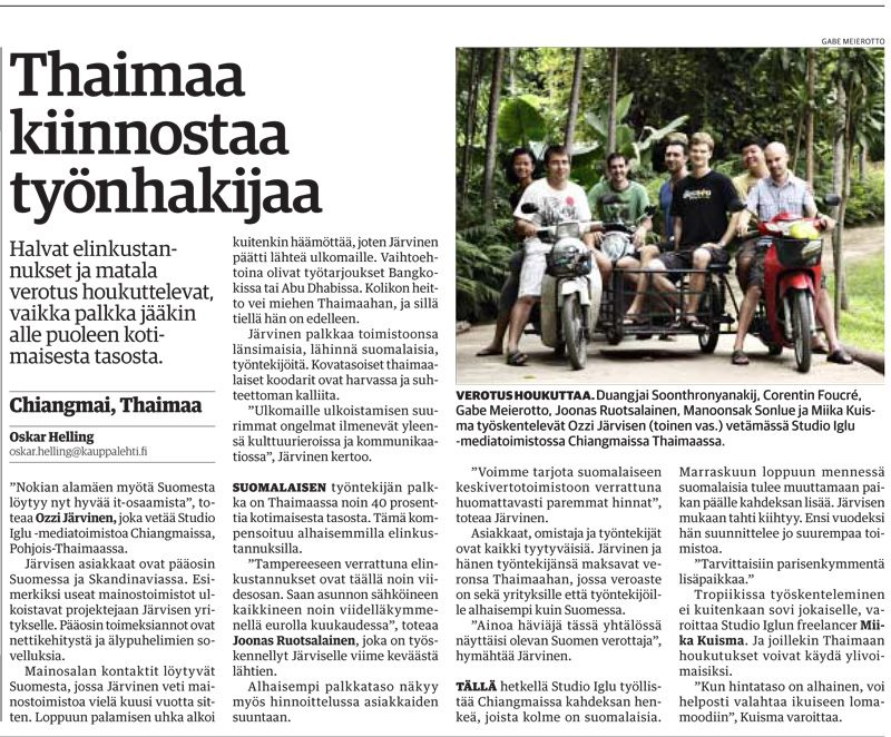 """Thailand Attracts Job Seekers?"" – Finnish Newspaper Article Kauppalehti"