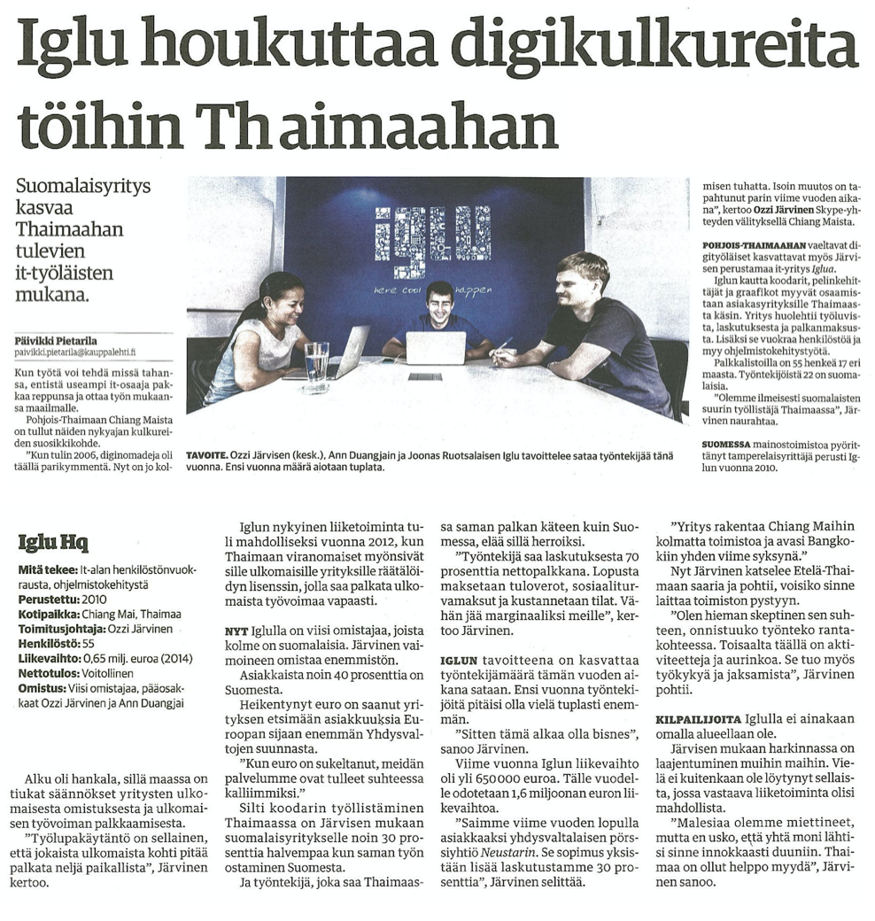 Kauppalehti Interview with Iglu CEO Ozzi Jarvinen