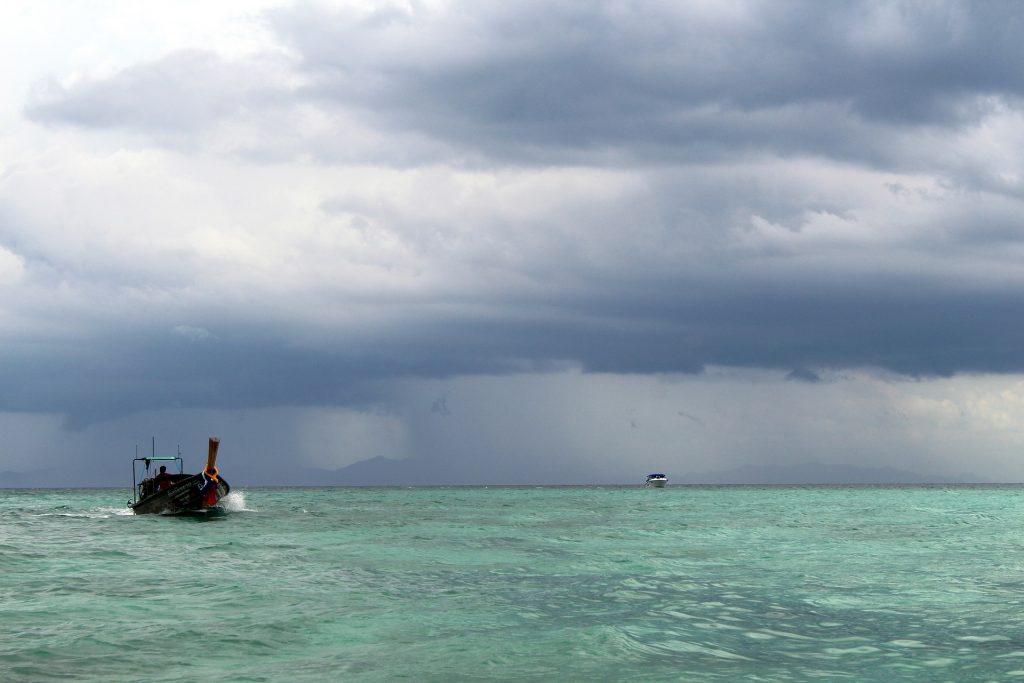 thai boat cloudy sky