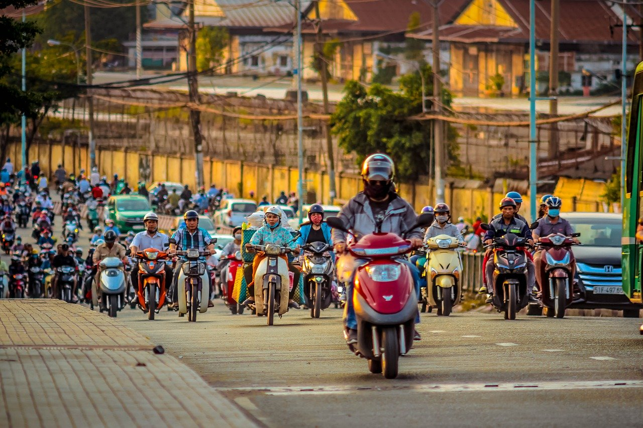 scooters traffic Vietnam
