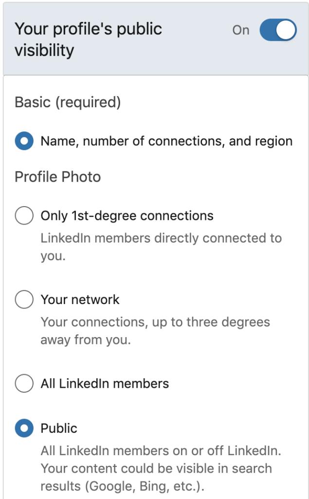 Linkedin profile visibility