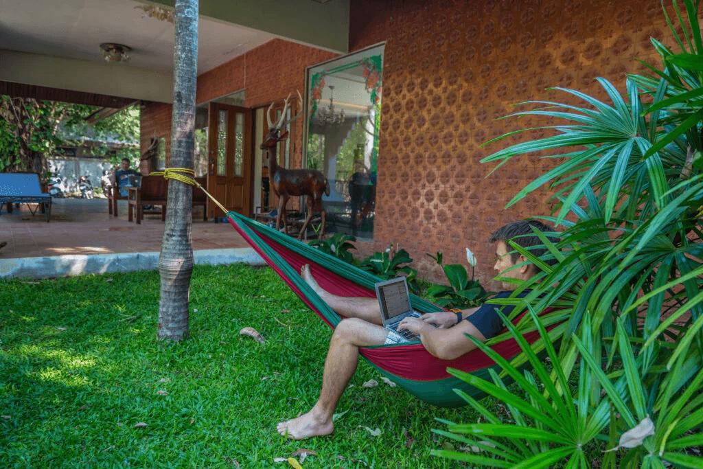 Ozzi working in a hammock